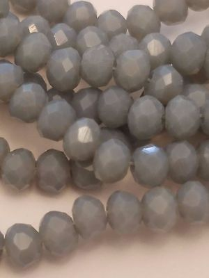 Opaque Solid Color Crystal Glass Faceted Abacus Beads, Light Steel Blue, 4x3mm