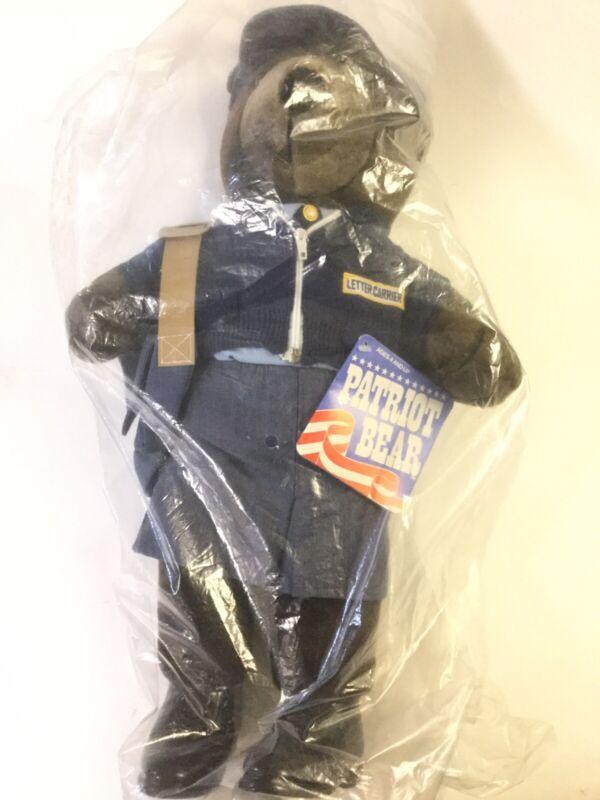 "1986 Patriot Plush Teddy Bear Mail Lady Postal Letter Carrier 20"" SEALED BAG NEW"