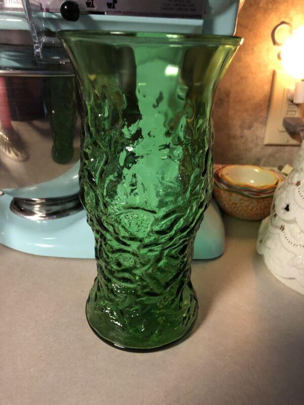 Vtg E O Brody Green Crinkled Glass Vase