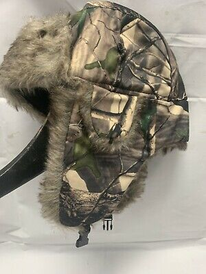 Green Camo Aviator Bomber Faux Fur Winter Ski Trooper Trapper Ear Flap Hat Cap