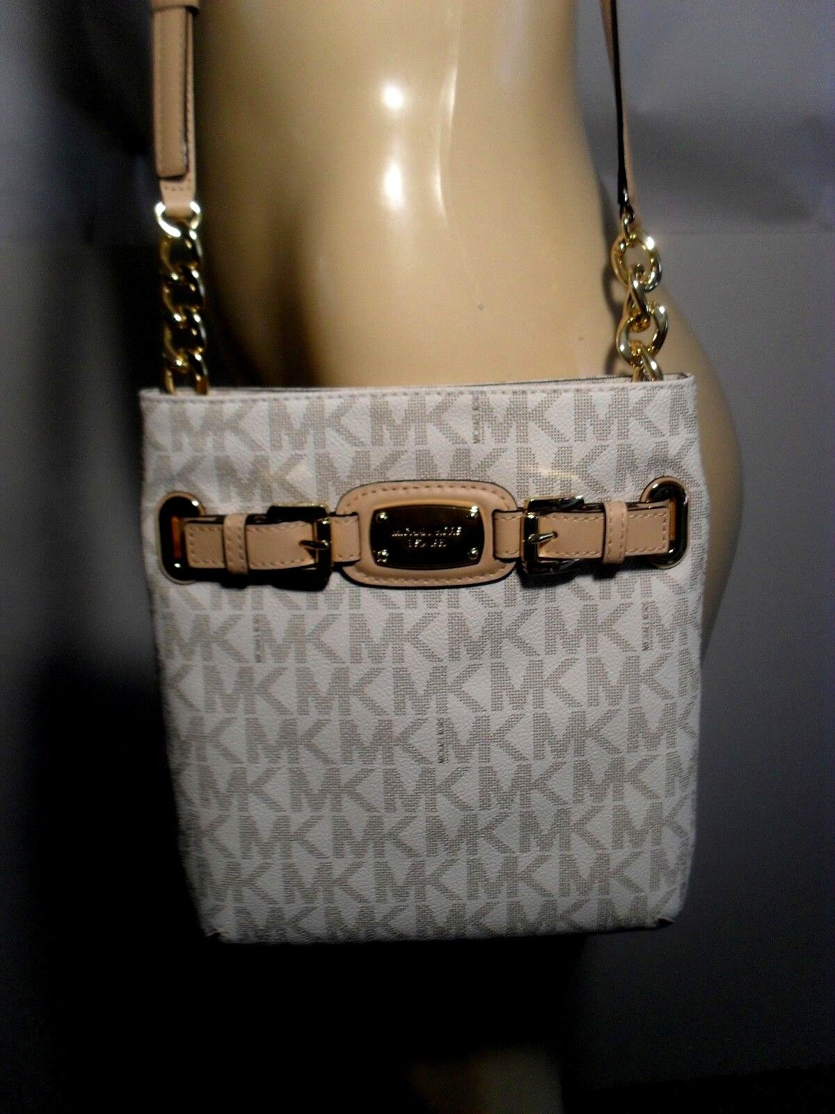 Michael Kors - NWT Michael Kors Hamilton Vanilla MK Messenger Crossbody PVC Shoulder Bag Purse