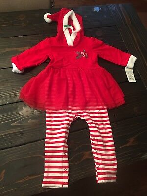 Cat and Jack Baby Girl Christmas Tutu Outfit, Santa Elf Hat/Hood, 18 Months