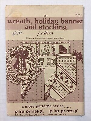 Vtg 80s New Piira Prints Wreath Holiday Banner Stocking Sewing Pattern Christmas Christmas Wreath Pattern