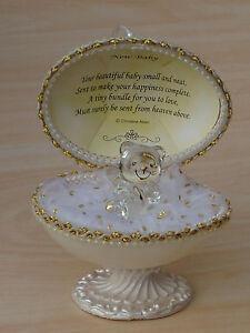 Nuevo-BABY-Unique-Faberge-EGG-Based-Design-22kt-NEWBORN-Regalo-Set-Glass-Love-Verso
