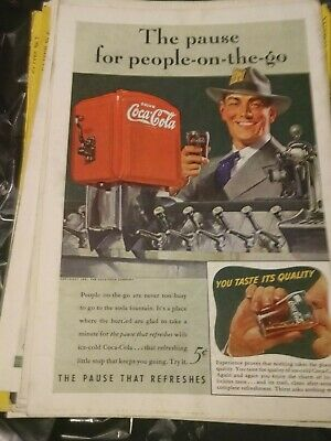 1941 Vintage Coke Coca Cola Soda Magazine Ad Pause for People on The Go
