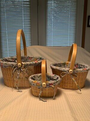 NEW Pair of 3 Oval Claire Murray Nantucket Style Nesting Baskets Fabric Liners