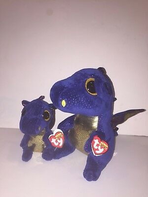 Ty Saffire Dark Blue Dragon Set Of 2 6    9   Beanie Boos New Mint Tag In Hand