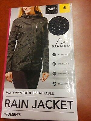 Paradox Waterproof   Breathable Womens Rain Jacket S Small Black Dots New Nib