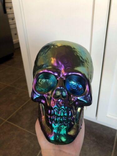 Rainbow iridescent Halloween Plastic Skull Decor