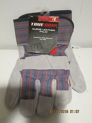 - TRUE GRIP 9223 LARGE SUEDE LEATHER PALM UTILITY  WORK GLOVES-F/SHIP NEW W/TAGS!