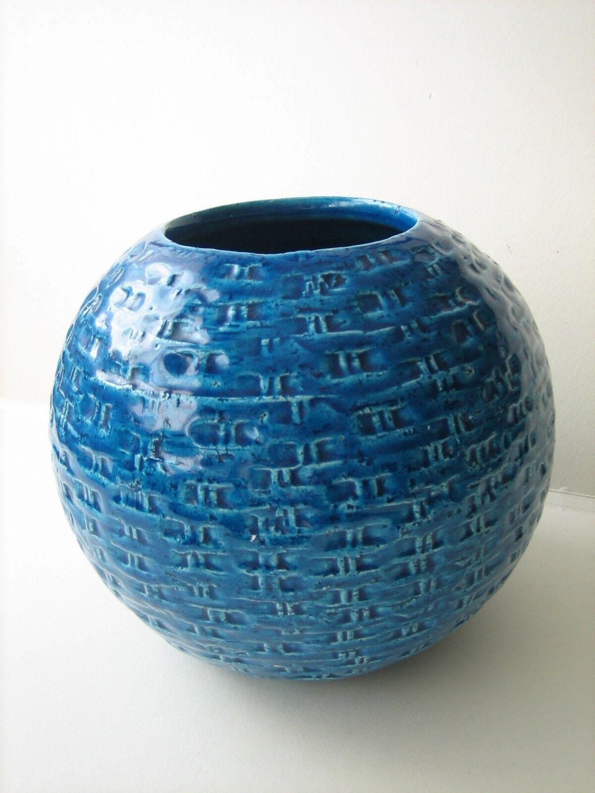 Aldo Londi Flavia Bitossi  Montelupo Firenze vaso ceramica sferico  blu