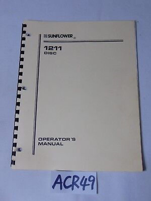 Operators Manual Farm Book Sunflower 1211 Disc Equipment