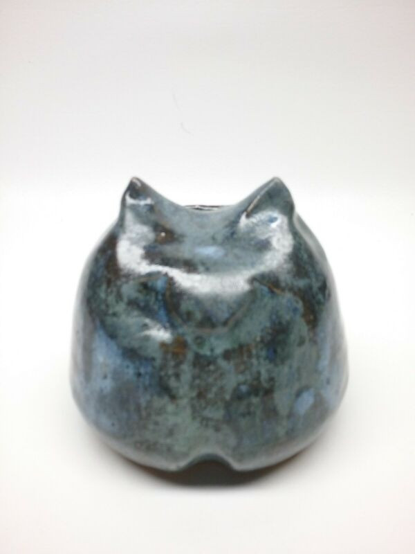 "Artist made Fat Cat Blue Pottery Stoneware figural bank CUTE 4"" Very Heavy !!"