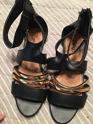 Womens Qupid Sandals Gladiator Dressy Summer Shoes Gold And Black Women's Size 7