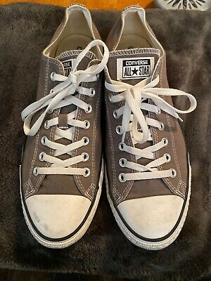 Men's Converse All Star Gray Canvas Lowtop Sneakers Size 12 Mens 14 Women's EUC