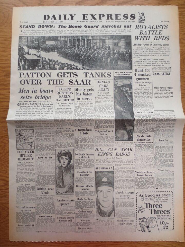 WW2 Wartime Newspaper Daily Express December 4 1944 Home Guard Tanks Over SAAR