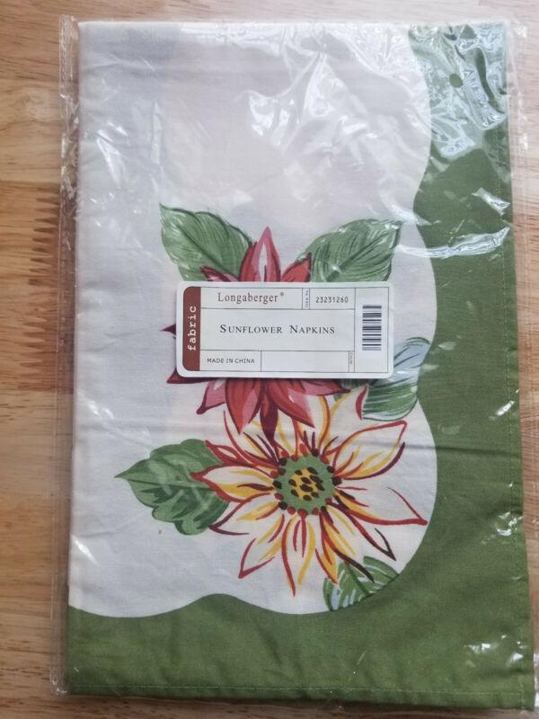 Longaberger Rare Sunflower Napkins Set of 2