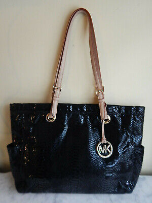 Michael Kors Large Black Reptile Design Leather Handbag, Tote, Purse