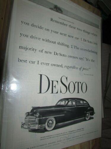 ORIGINAL ANTIQUE CAR ADVERTISMENT 1948 DE SOTO