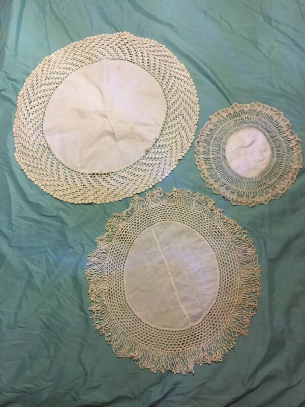 Antique Vintage Handmade Crochet Lace And Linen Doilies Lot of 3 Intricate Edges