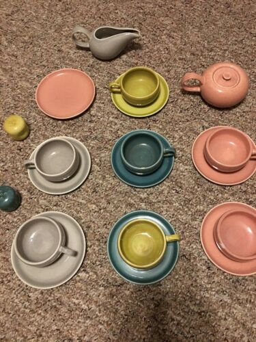 Lot Of 19 Pieces Of Russell Wright Cups Saucers Salt Pepper Gravy Steubenville