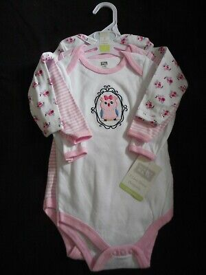 Girls 'HUDSON BABY' Long-Sleeve BODYSUITS x 3, AGE 6-9 MONTHS, New with Tag.