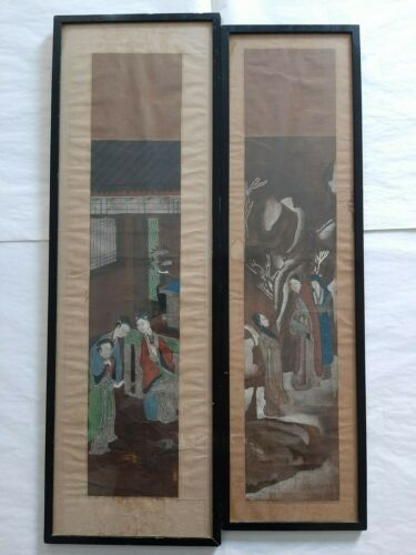 Qing Dynasty  rare chinese pair of paintings