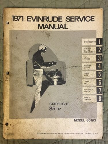 1971 EVINRUDE SERVICE MANUAL STARFLIGHT 85 HP MODEL 85193 OUTBOARD SHOP REPAIR