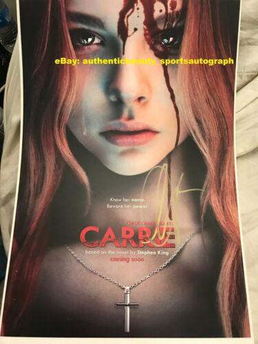 CHLOE GRACE MORETZ CARRIE WHITE HORROR STEPHEN KING MOVIE SIGNED 12x18 REPRINT