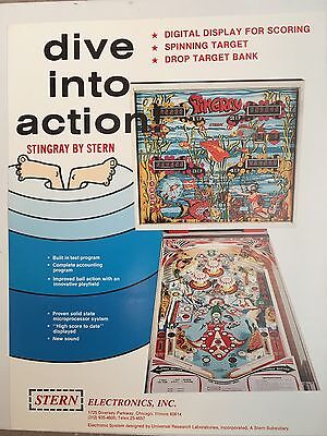"""""""STINGRAY""""  BY STERN 1978 PINBALL PROMO BROCHURE-MINT-IN PLASTIC COVER"""