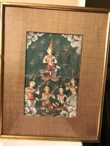 Antique 1800's BUDDIST Thai manuscript art Illuminated PAINTING Phrai Malai art