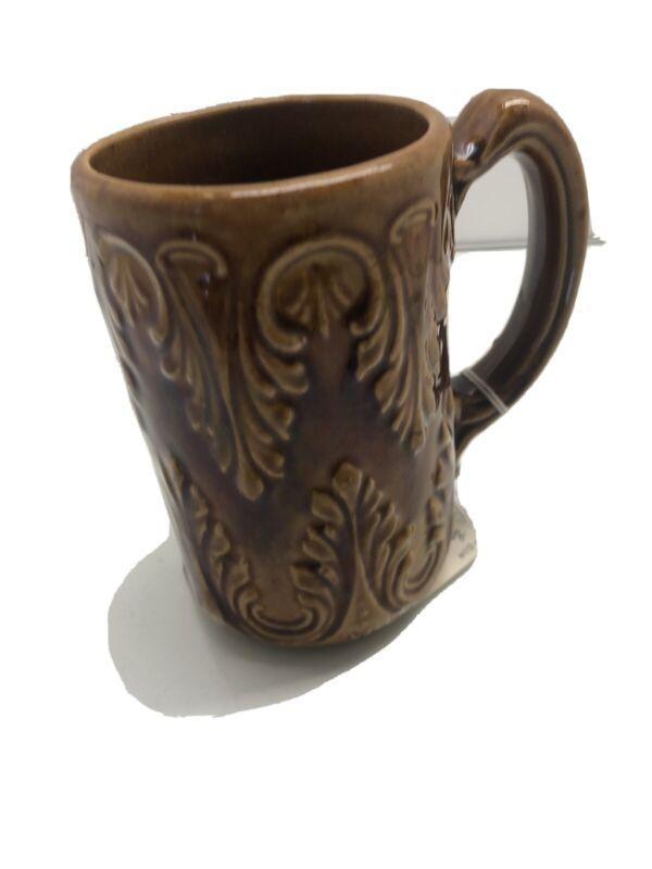 19thc Antique Brown Stoneware Pottery Raised Pattern Mug Leaf Design