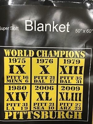 PITTSBURGH STEELERS BLANKET 50X60 SUPER SOFT SUPER BOWLS ()