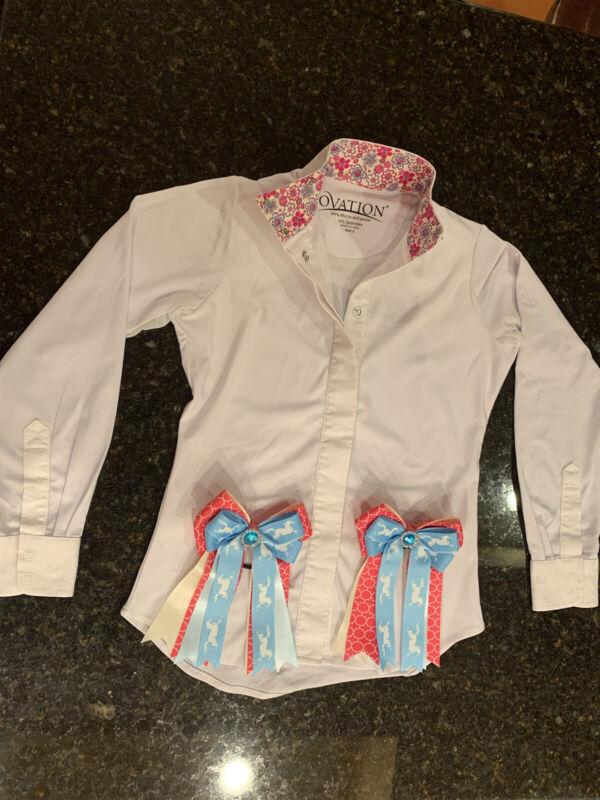 Ovation Kids White Equestrian Horse Show Long Sleeve Shirt Size 8+ Hair Bows EUC