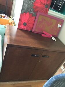 Stained wood printer cabinet