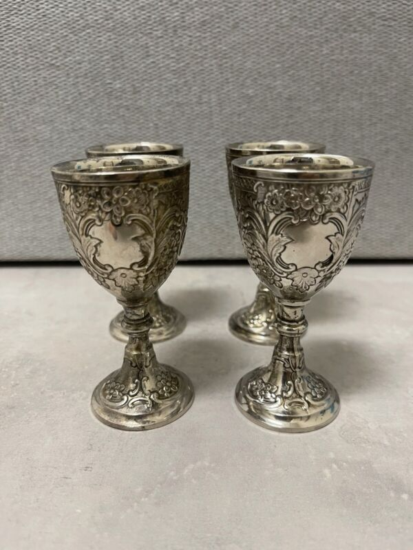 VINTAGE C & CO CORBELL & CO SILVERPLATE CORDIAL LIQUEUR CUPS GOBLETS SET 4 NICE