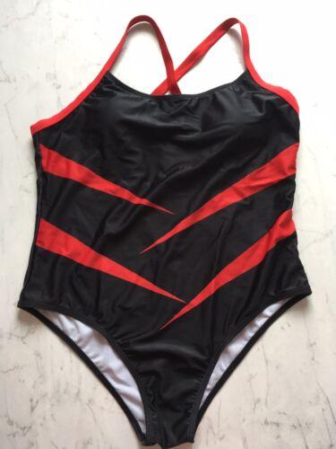 Badeanzug  Größe XL Cup B/C schwarz mit roten Farbeinsätzen -neu ohne Etikett-