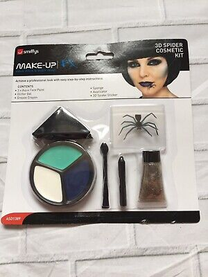 Halloween 3D Spider Cosmetic Kit Face Paints Smiffys Make Up FX HORROR Cosplay