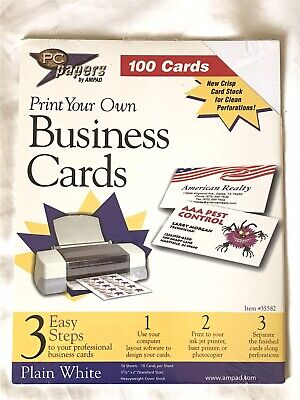 Pc Papers By Ampad Print Your Own Business Cards White Pack Of 100 New