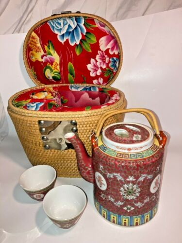 Vintage Asian Tea Set complete in Lined Woven basket - See pics, make offer!