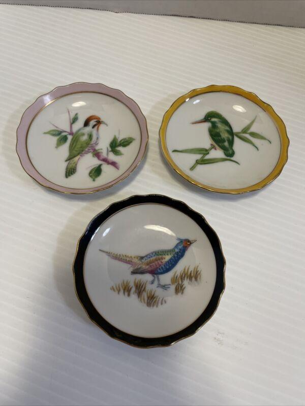 "3 - Vintage Miniature 4"" Bird Plates Gold Trim Japan - VGUC"