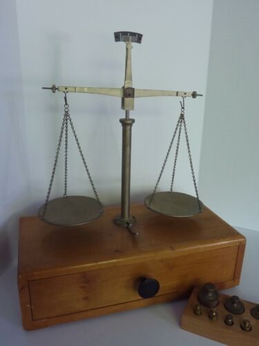 Vintage Balance Scale w/ Single Pull Out Drawer & Various Counter Weights