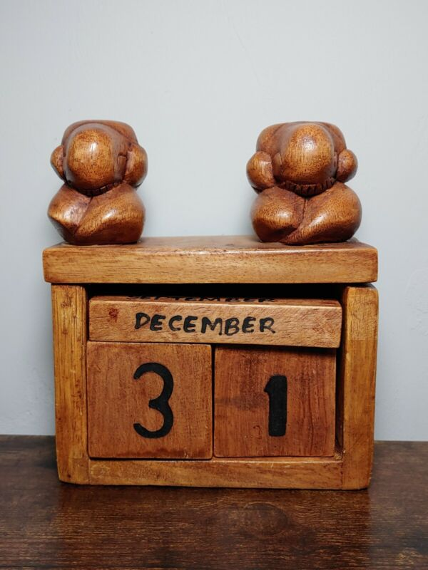 Rare Weeping Buddha Wooden Perpetual Calendar Vintage Primitive Indonesia