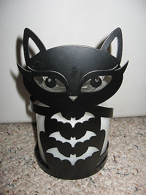 Yankee Candle SOPHIA Black Cat with Bats Metal Jar Holder Silhouettes Halloween