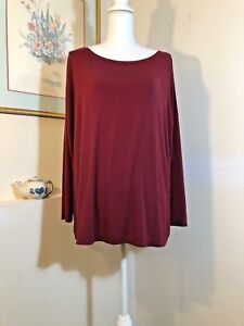 PIKO 1988 Womens Tunic Top Size Small Oversized Maroon Long Sleeve Soft Pullover