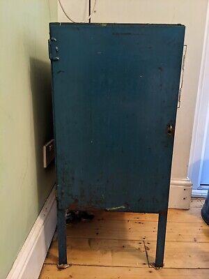 Distressed Metal bedside cabinet vintage industrial blue filing WALTHAMSTOW E17