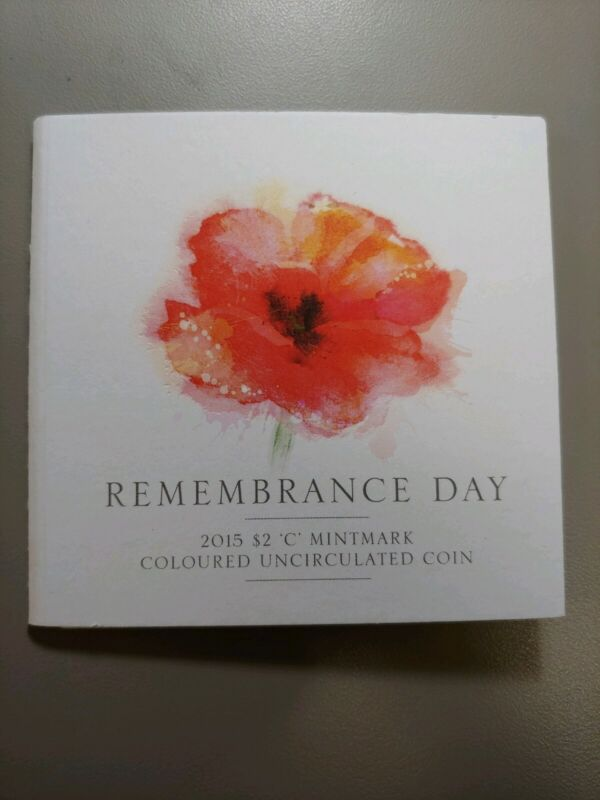 "2015 Australian Coloured $2 ""C"" Mint Mark Remembrance Carded Coin"