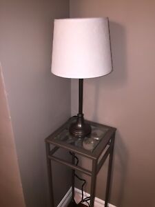 Metal  brown lamp with white shade