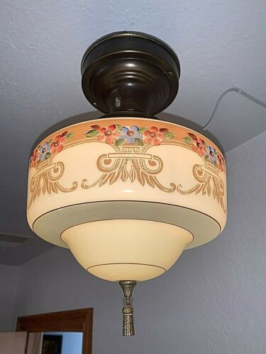 1920-30s Art Deco Brass Flush Mount Fixture with Awesome Shade