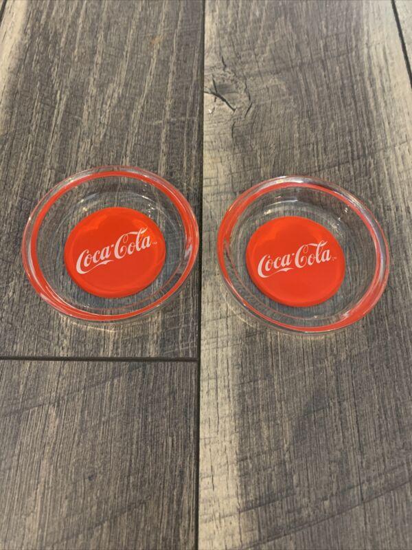 2 VINTAGE COCA-COLA GLASS ASHTRAYS
